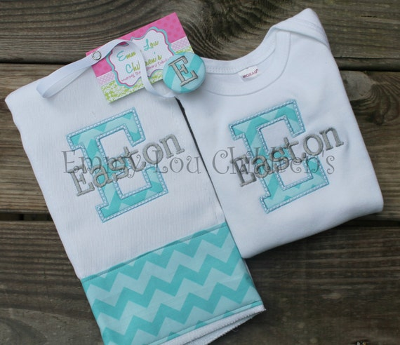 Personalised Baby Gift Sets : Monogrammed personalized baby gift set one burp cloth