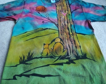 Puppy LOVE! Two dogs watching the sunset, heart carved into the tree, man's medium discharge t-shirt with procion dyes, greens, pink, orange
