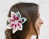 SALE - Waterlily Wedding Hair Flower - Waterlily Wedding Fascinator - Pink and Green Bridal Kanzashi Flower Fascinator -  Bridal Fascinator