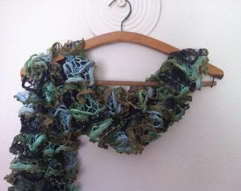 Ruffle Flamenco Scarf, Green, Beige Blue, Coffe Knit Frilly Scarf