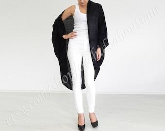 cardigan DIMA Black Loose Sweater Bolero oversized kimono  Boho chic cover-up jacket casual maternity plus size cozy wrap cotton outerwear