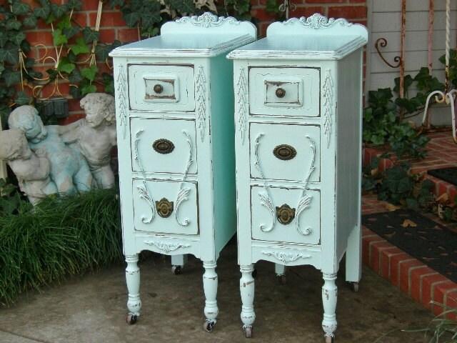 2 nightstands restored pair of antique nightstands for Little girls nightstand