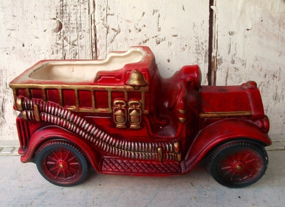 Vintage Fire Truck Fire Engine Planter Flower Pot Ceramic