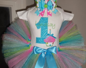 Polka Dot Zebra Birthday Cupcake outfit - NO BOW VERSION - Any Birthday Number - Free Name