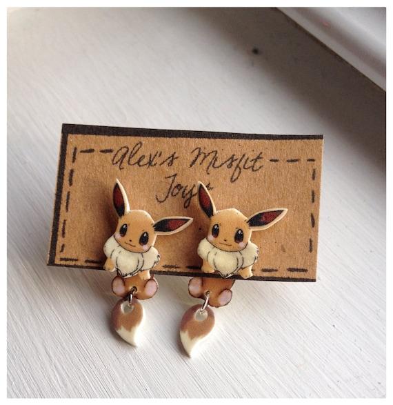 Kawaii Eevee Pokemon Clinging Earrings Fake Gauges