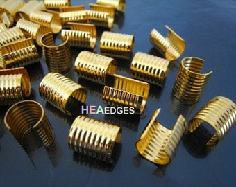 Finding - 6 pcs Gold Plated Medium Size Adjustable Crimp Round Tone Tube Curve Fold Over End Cap without Loop 10mm x 13mm