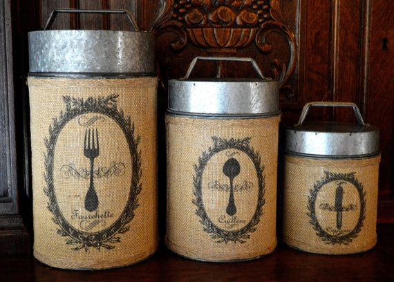 vintage rustic burlap canister set of 3 by vintagewicksnmore french food safe tin canister set rustic vintage country