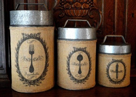 vintage rustic burlap canister set of 3 by vintagewicksnmore