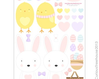 Easter Rabbit Chick Cut Ups Digital Download Curious Critters