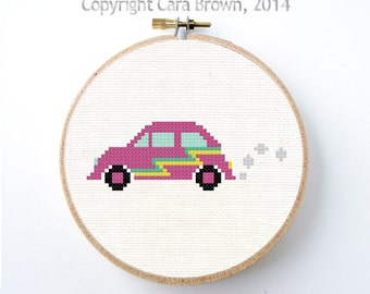 Volkswagen Bug Car Cross Stitch Pattern Instant Download Easy needlepoint cute  VW Beetle