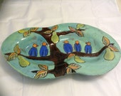 Tray - Functional, Handbuilt, Carved and Earthenware with Blue Birds on a Pear Tree with Turquoise Background with Lead Free Glaze