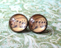 20% OFF -- Old vintage music score Stud Earring ,Beautiful Gift for her,Gift Idea