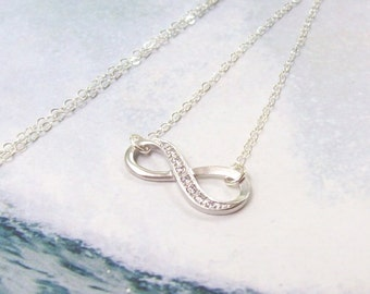 SALE CZ Infinity Necklace, Sterling Silver Necklace, silver infinity, matte, elegant, CZ, fashion, simple, minimal, women