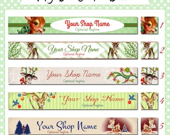 Christmas Holiday Etsy Shop Banner Set - Cute, Vintage Deer - Your Choice from 5 Designs