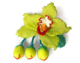Lime-green orchid beaded  flower brooch and necklace.