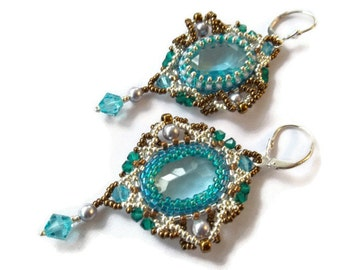 Blue vintage crystal earrings. Beaded beadwoven earrings. Wedding earrings. Long dangle earrings.