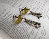 RESERVED LISTING for Gayle Coe Czech Glass Rondelle Tassel Earrings