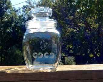 Glass Apothecary Jar With Hand Etched Designs