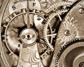 """Antique Pocket Watch, gears, abstract, intimate, sepia - """"In My Father's Time"""""""