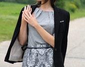 50% DISCOUNT / Silver Gray Brocade Handmade Mini Skirt / La Mini Jupe Brocart / Season Must Have / On Trend / fit for S / M sized Women