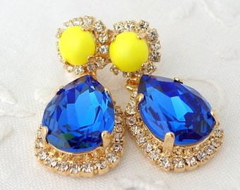 Sapphire blue and neon yellow Chandelier earrings, Cobalt blue neon yellow dangle earrings, Drop earrings, Dangle earrings, Gold earrings