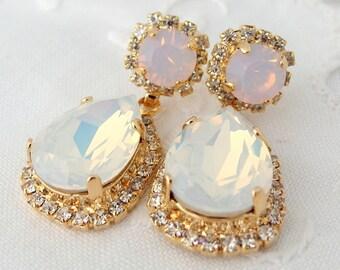White opal and pink opal Chandelier earrings, Bridal earrings, Swarovski dangle earrings, Drop earrings, rhinestone earrings, Gold earrings