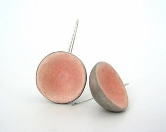Peach pink and grey clay dome earrings, rustic, geometry, shabby chic pastel minimal, air dry clay earrings, organic style, sterling silver