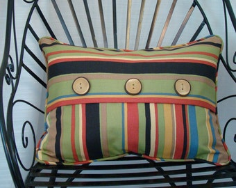 """Bold Stripe with large wooden button - Pillow Cover - 20"""" x 15"""""""