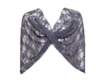 Plus Size Dark Grey Lace Versatile Shawl- Shrug, Shawl, Scarf, Crisscross. Lace Cover Up Plus size Fashion Accessories, Gift For Her CL110