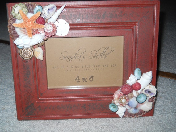 distressed cranberry frame BEACH DECOR FRAME with designs in two corners
