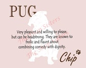 Pug Print Dog Choose Breed Personalize Silhouette 8 x 10 Print Wall Art customize pet FREE SHIPPING