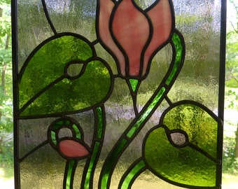 Stained Glass Floral Panel in Pinks and Sage with a Violet Background