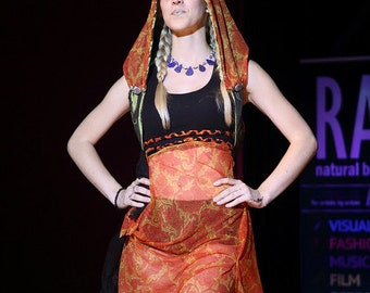 The Orangina - Up Cycled Tank Dress with Matching Gemstone Adorned Reversible Hood