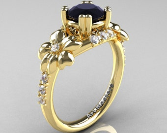 Nature Inspired 14K Yellow Gold 1.0 Ct Black White Diamond Leaf and Vine Engagement Ring R245-14KYGDBD