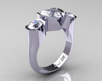 Nature Classic 10K White Gold 2.0 Ct Heart Cubic Zirconia Three Stone Floral Engagement Ring Wedding Ring R434-10KWGDCZ