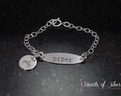 Dainty Charm Bracelet- Hand Stamped Bracelet- Charm Bracelet- Baby Bracelet- Sterling Silver