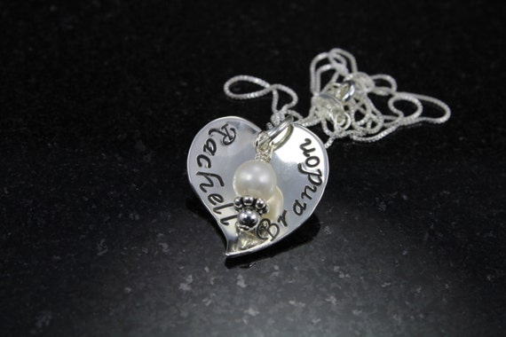Hand Stamped Necklace- Sterling Silver Heart Necklace- Personalized Charm Necklace-