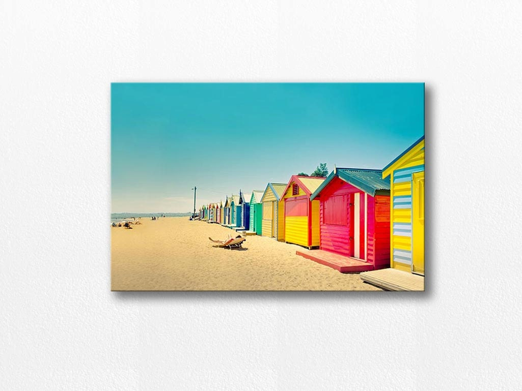 Beach house canvas wrap beach canvas art 12x18 24x36 fine art for Beach house prints