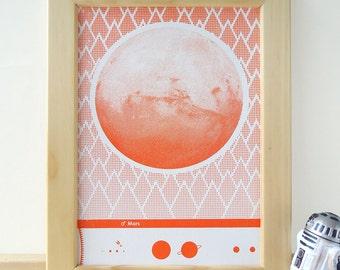 "Planet Mars screen print 5"" x 7"""