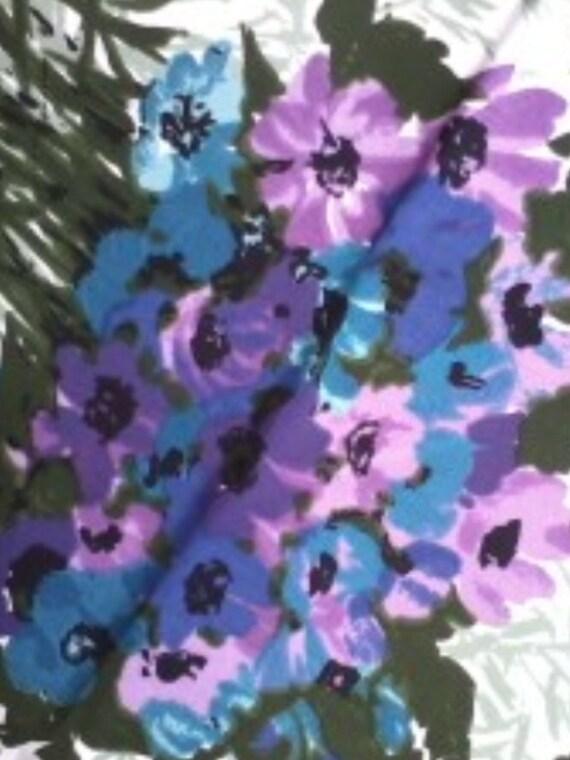 Fabric iris anemones retro sewing craft supply high fashion