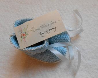 Sweet Vintage Blue Baby Booties