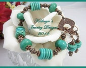 Bracelet and Earrings of Turquoise Magnesite and Antiqued Copper
