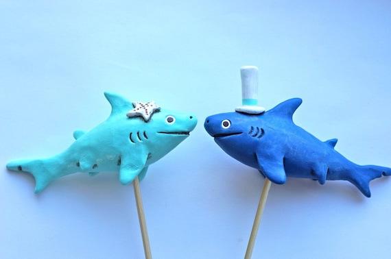Sharks In Love wedding cake topper