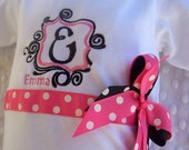 Personalized Baby Girl one piece (tm), bodysuit  or  ruffle edge T- Shirt, monogram, pink polka dot frame