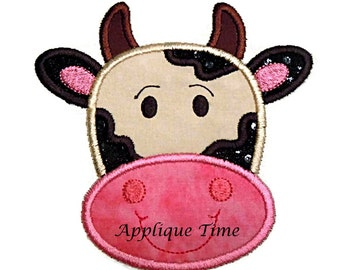 Instant Download Cow Face Machine Embroidery Applique Design 4x4, 5x7 and 6x10