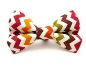 Cute Fall or Thanksgiving Chevron Collar Bow/Tie for Dogs (Boy or Girl) - Dressed for Dinner