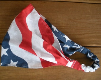 American Flag Headband 4th of July Headband Fashion Accessories Women Headwrap Headscarf Bandana with Stars and Stripes