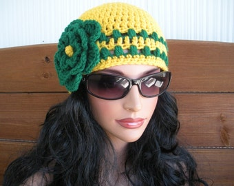 Womens Hat Crochet Hat Winter Fashion Accessories Womens Beanie Winter Hat in Mustard Yellow with Green Stripes and Flower