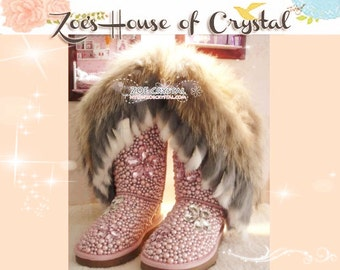 PROMOTION WINTER Bling and Sparkly Pink Tall Fur SheepSkin Wool BOOTS w shinning Czech or Swarovski Crystals and Pearls