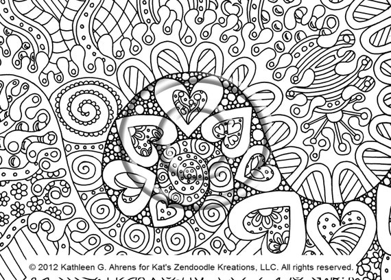 Hippie Coloring Pages Pdf : Instant pdf digital download coloring page hand drawn